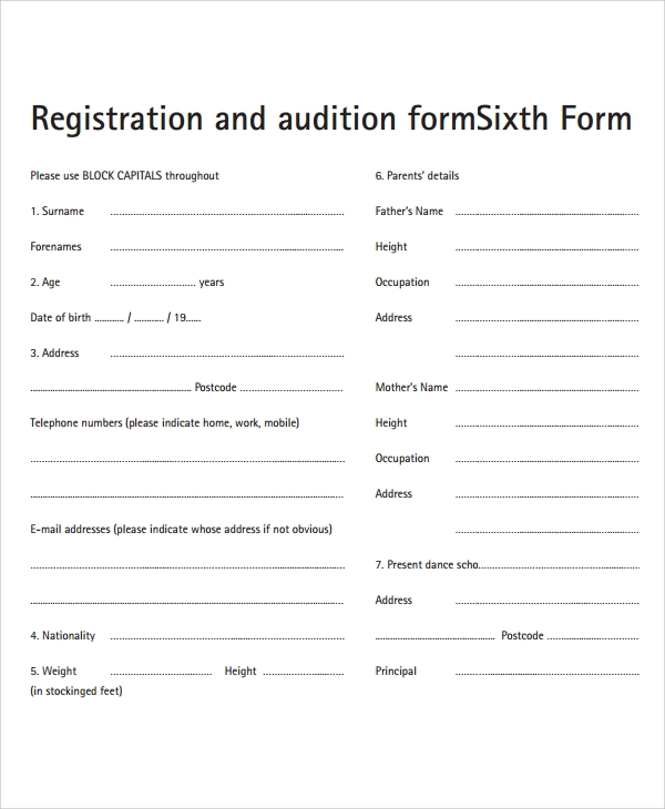 audition forms template