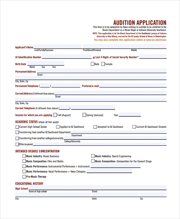 Sample Audition Form 7 Documents in PDF Word – School Admission Form Sample
