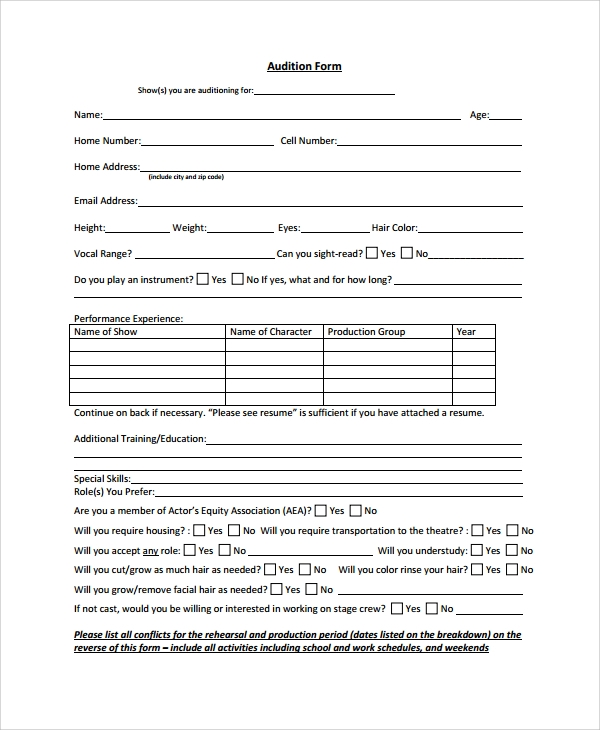 acting contract template - 8 sample audition form templates sample templates