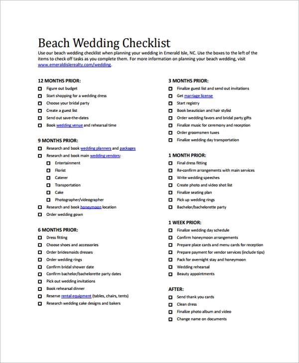 Sample Wedding Checklist - 19+ Documents in PDF, Word