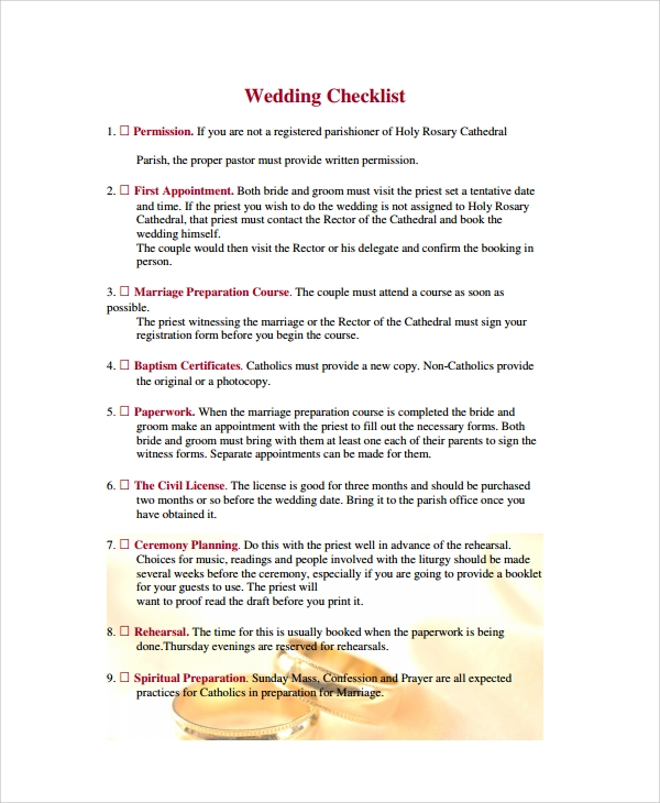 Sample Wedding Checklist   Documents In Pdf Word