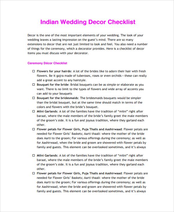 24 sample wedding checklist templates sample templates