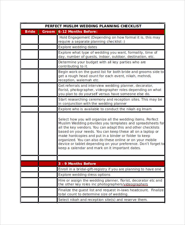 12 Month Wedding Planning Checklist – Sample Wedding Planning Checklist