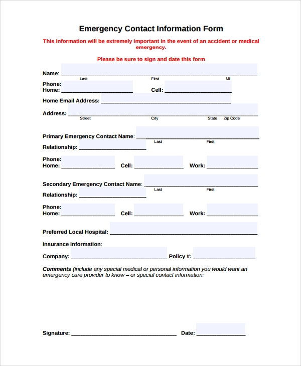 Doc449297 Contact Information Form Template 5 Contact Info – Sample Contact Sheet