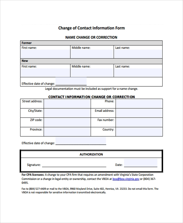 change of contact information form