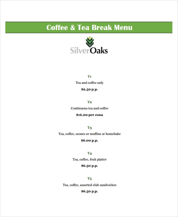 tea and coffee menu template