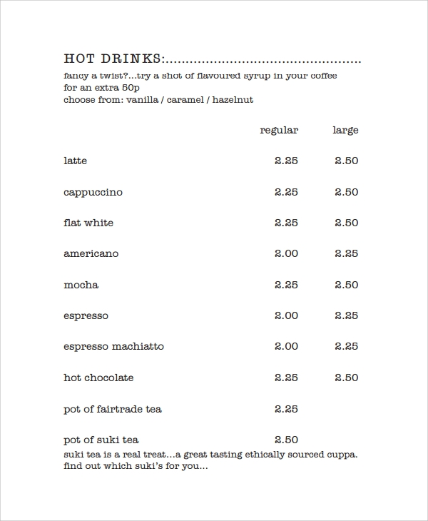 coffee price list template - 8 sample coffee menu templates sample templates