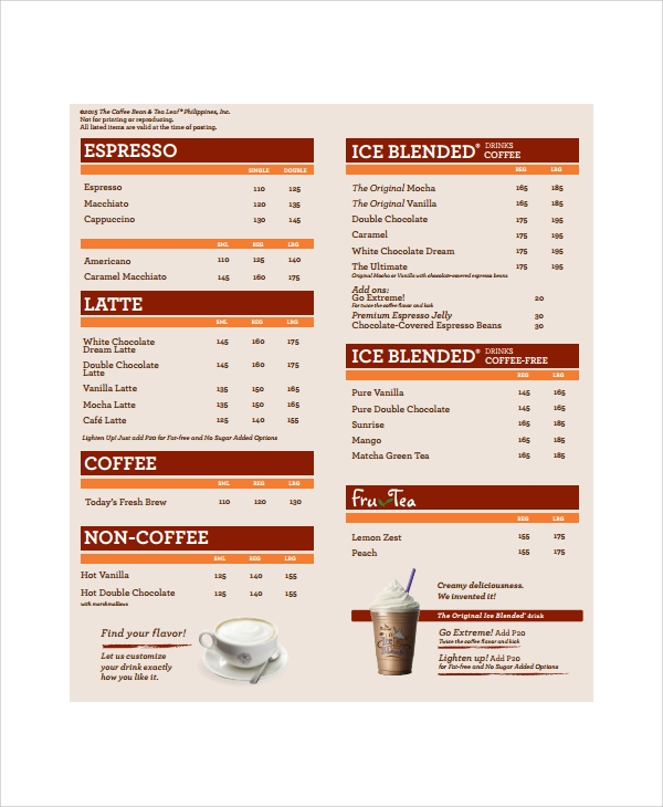 Sample Coffee Menu   Documents In Pdf