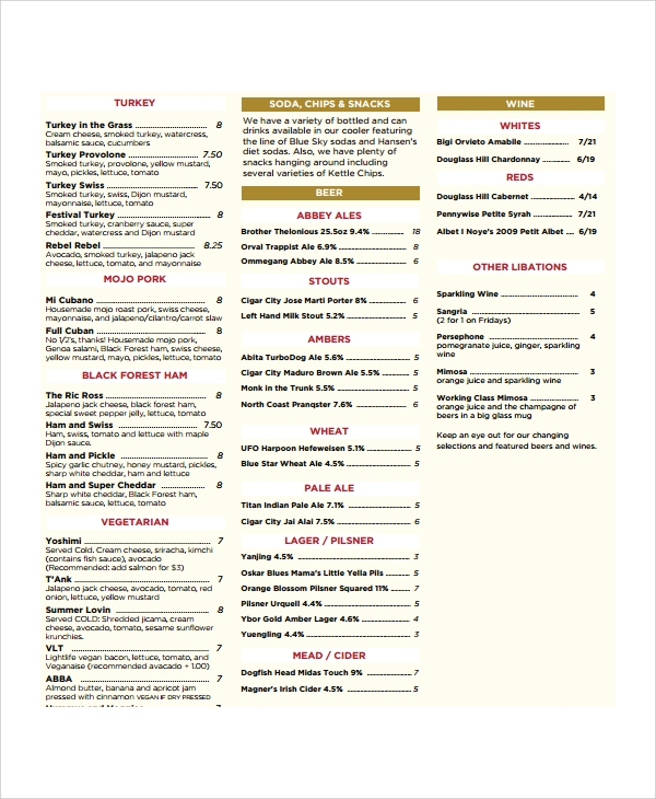 coffee menu template sample
