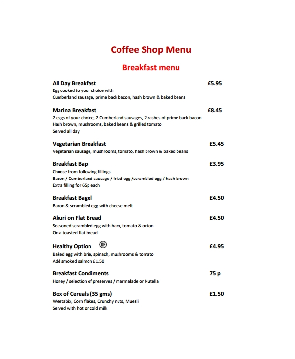 simple coffee shop menu template