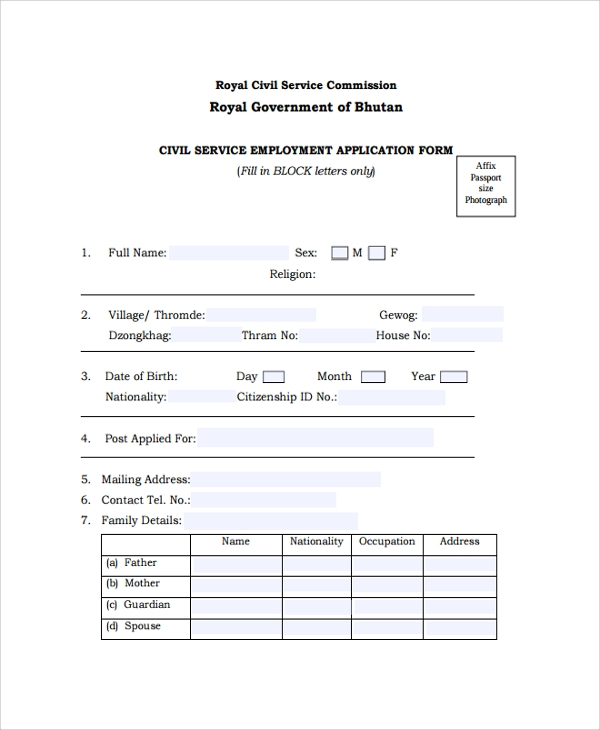 Sample Application Forms Sample Job Application Form Application