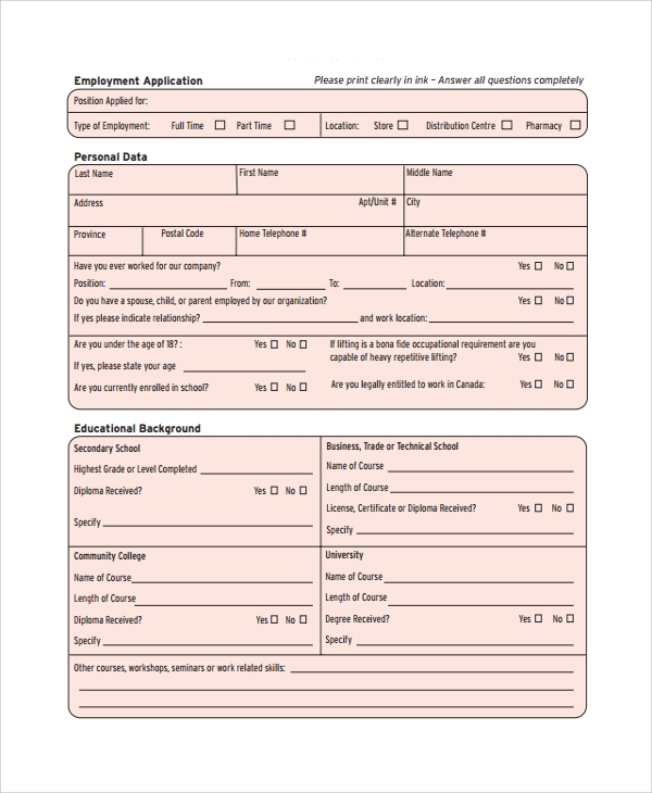 Sample Job Application Form - 24+ Documents In Pdf, Word