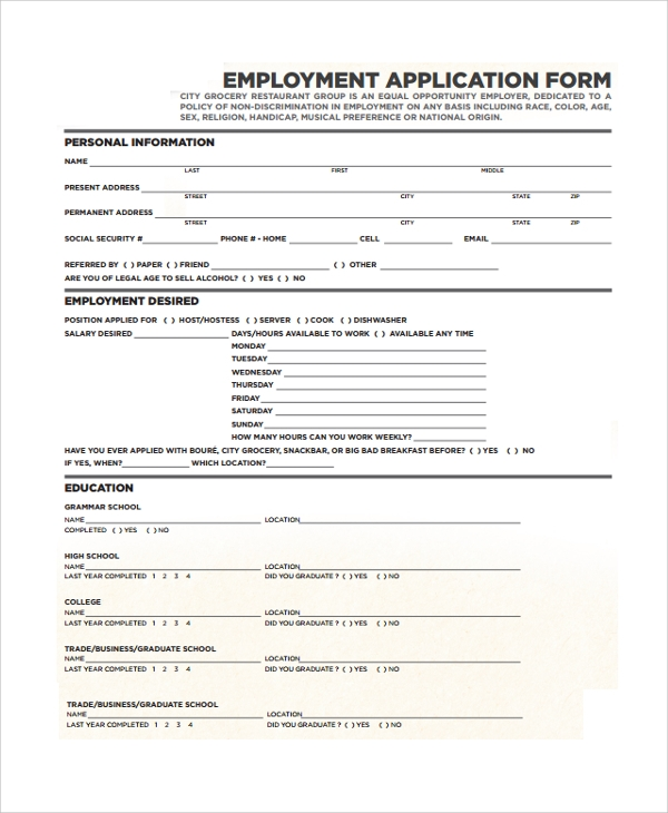 restaurant job application form