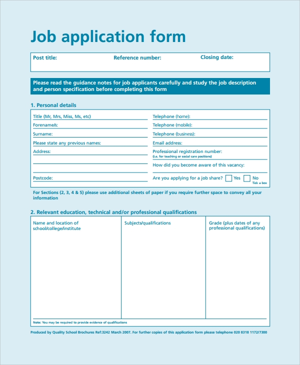 it job application form
