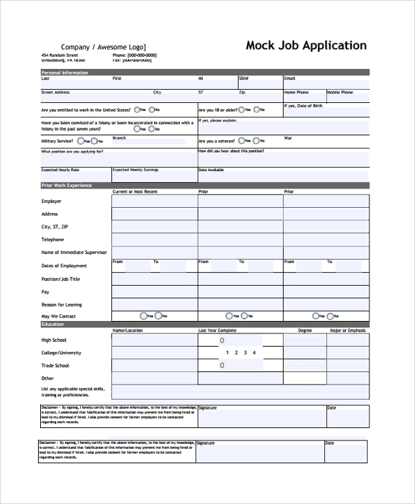 Sample Job Application Form 24 Documents In Pdf Word
