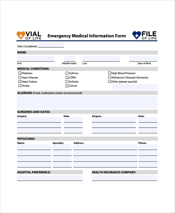 Sample Medical Form   Documents In Word Pdf