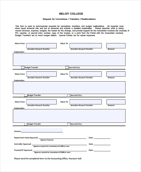 accounting journal entry budget form