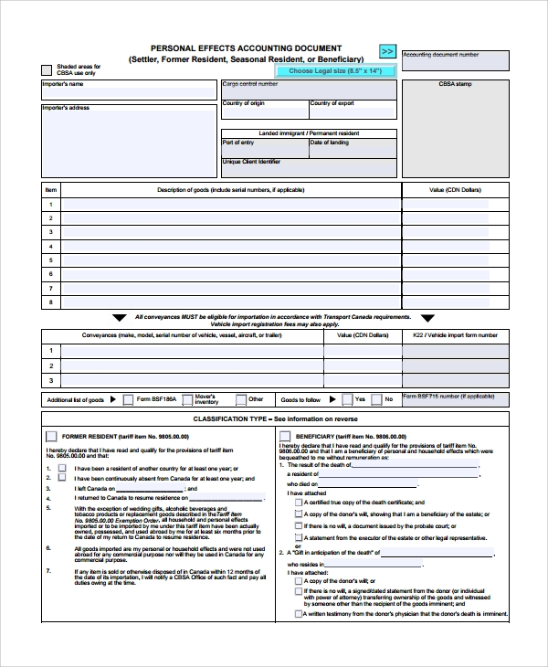 personal accounting document form