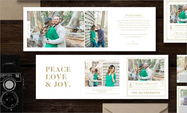 holiday card trifold template