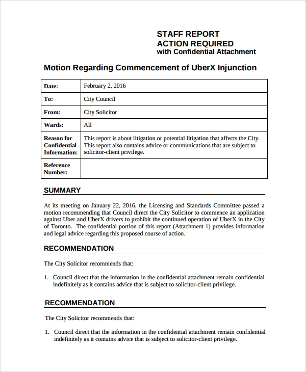 Sample Staff Report Template   Documents In Pdf