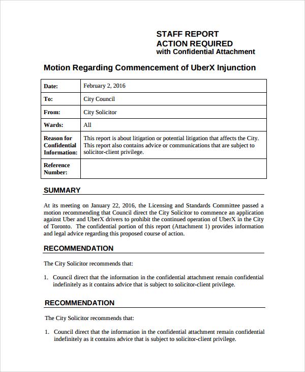 staff report format