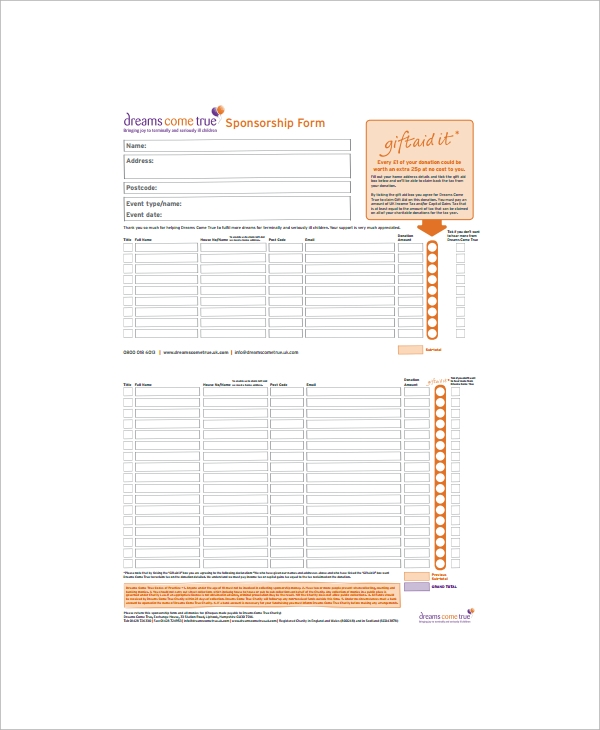 Doc12401754 Sponsor Form Template Free Sponsorship Form – Sponser Sheet