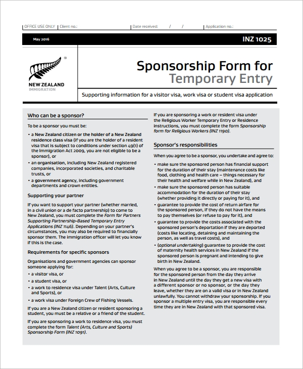 Sample Sponsorship Form 9 Documents In Word Pdf .  Application For Sponsorship Template