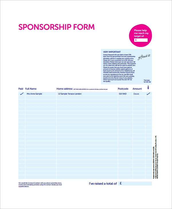 Sample Sponsorship Form 9 Documents in Word PDF