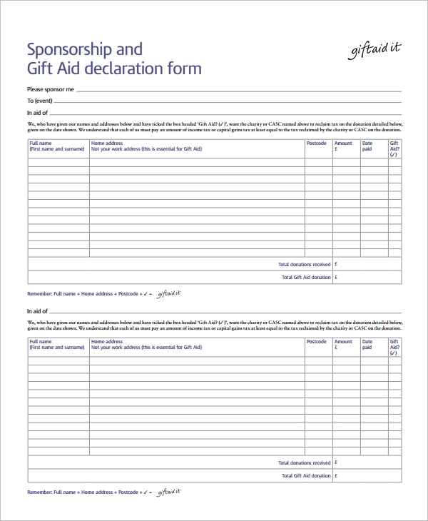 Sample Sponsorship Form   Documents In Word Pdf