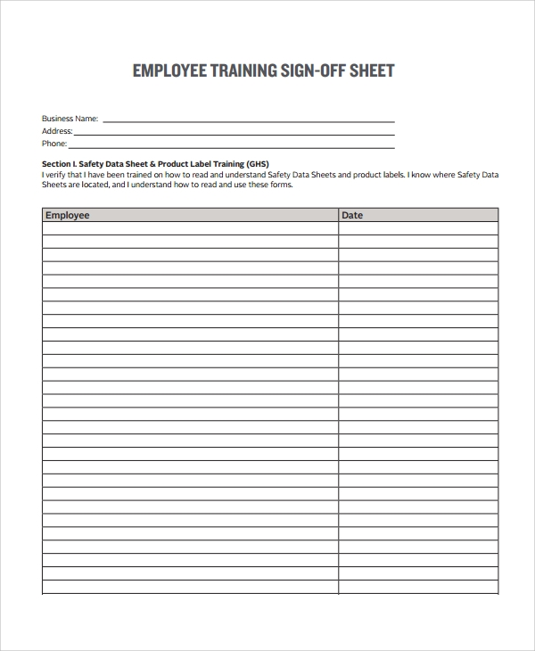 Perfect Sign Off Sheet Template