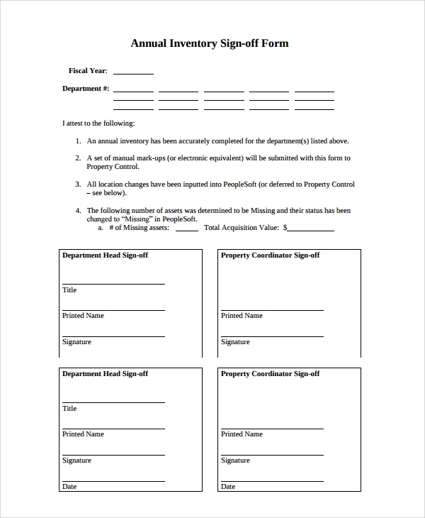 8 sample sign off form templates pdf sample templates for Sign off template for testing