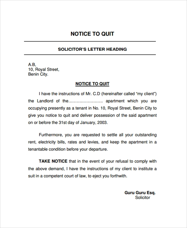 Sample Notice Letter   Documents In Pdf Word