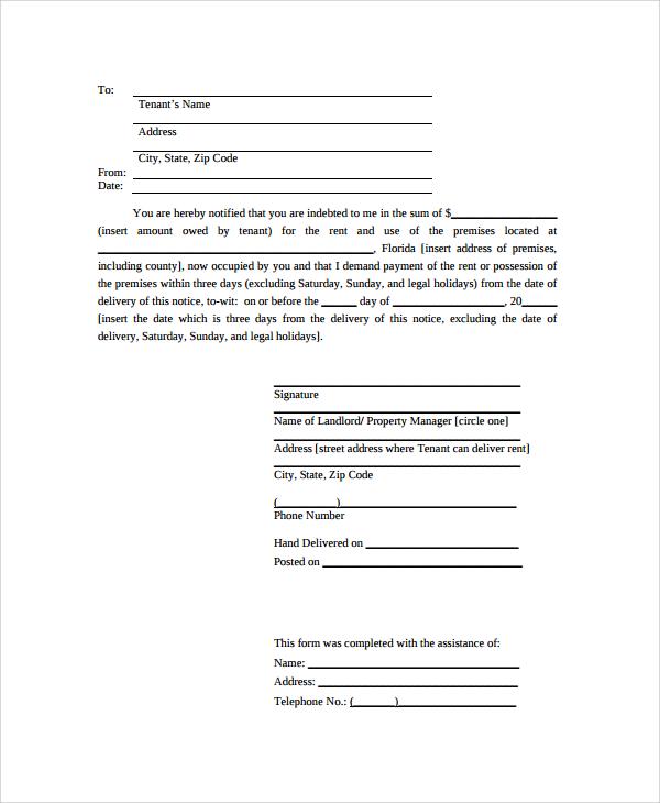 sample notice letter