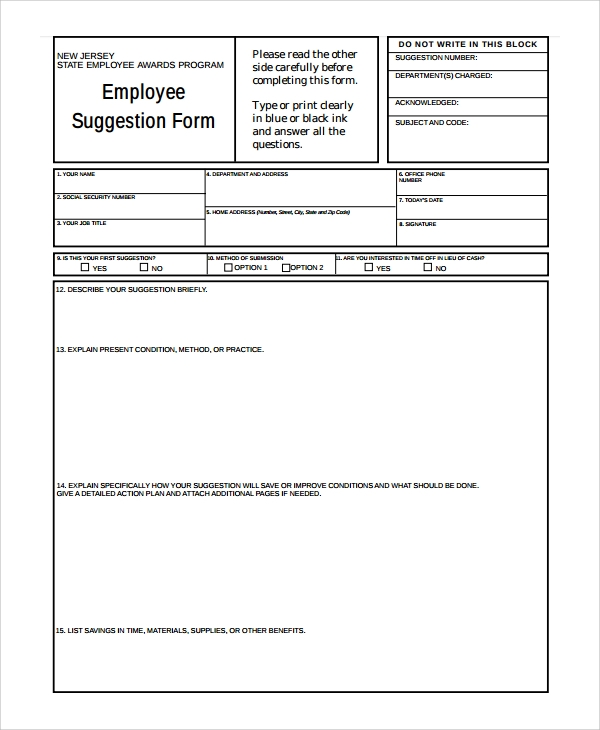 Sample Employee Suggestion Form   Documents In Pdf Word