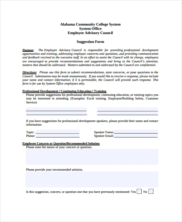 Sample Employee Suggestion Form - 7+ Documents in PDF, Word