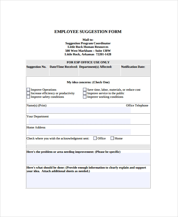 Sample Employee Suggestion Form 7 Documents in PDF Word – Employee Suggestion Form