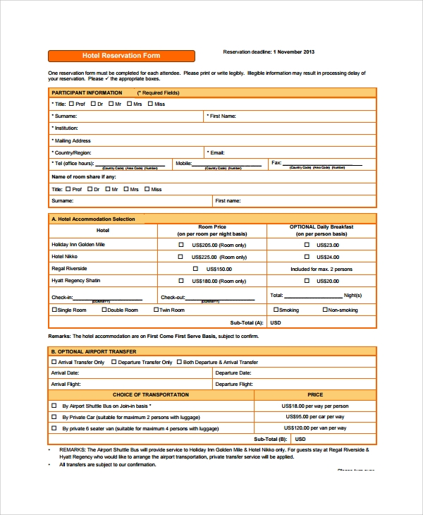 Sample reservation form 9 documents in pdf for Accommodation booking form template