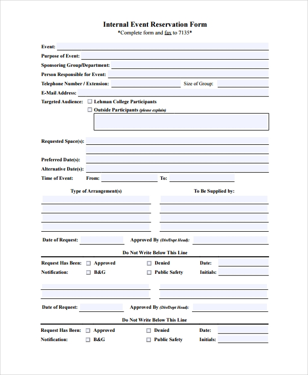 event booking form template word 10 sample reservation forms sample templates