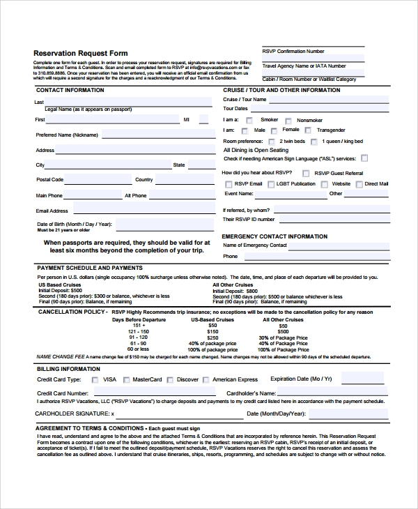 Hotel Booking Form Template. Sample Reservation Form 9 Documents