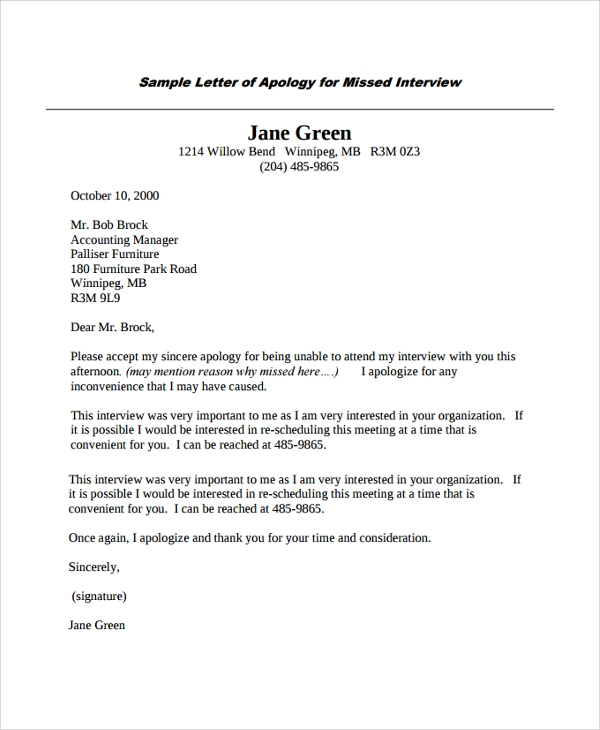 Sample apology letter 20 documents in pdf word apology for missed interview spiritdancerdesigns