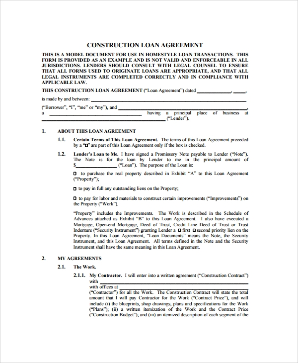 Sample Construction Loan Agreement 7 Documents in PDF – Simple Construction Contract Form