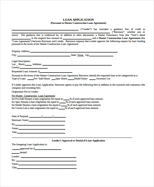 Residential Construction Loan Agreement Form