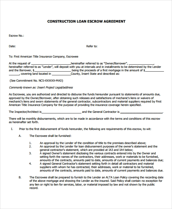 8 Construction Loan Agreement Samples Examples Templates
