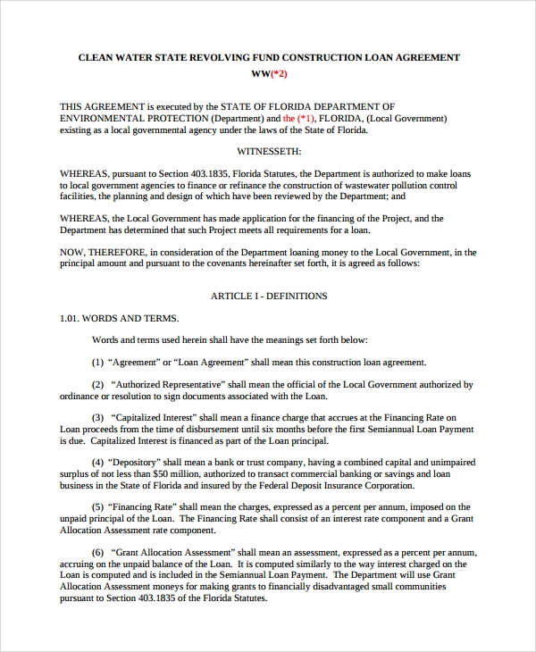 Sample Construction Loan Agreement 7 Documents in PDF – Business Loan Agreement
