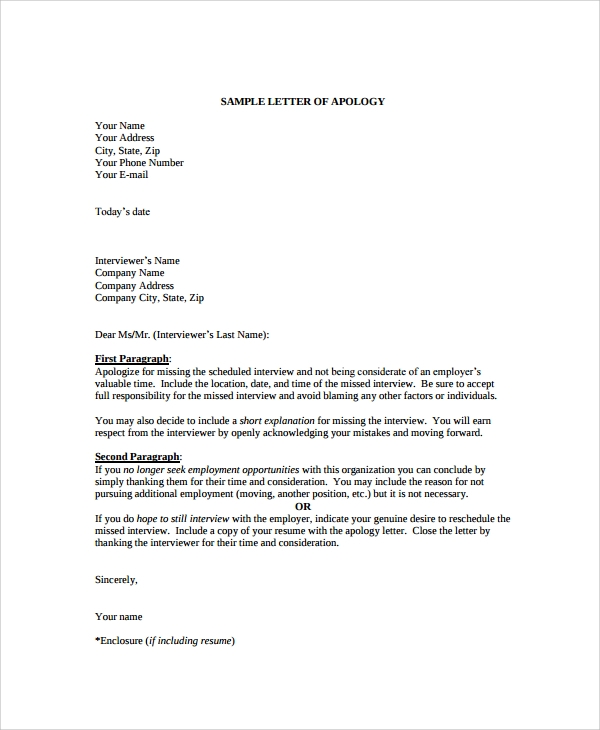 Sample apology letter 20 documents in pdf word apology letter format thecheapjerseys Gallery