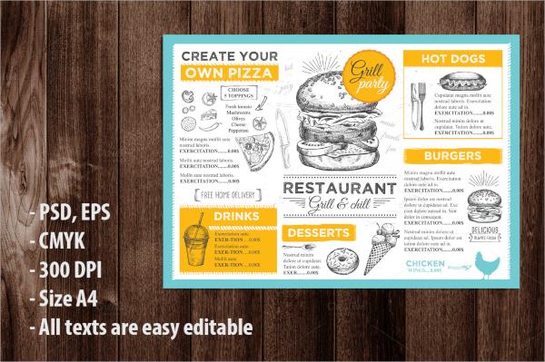 colorful menu flyer