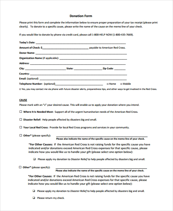 Sample Donation Form 6 Documents in PDF Word