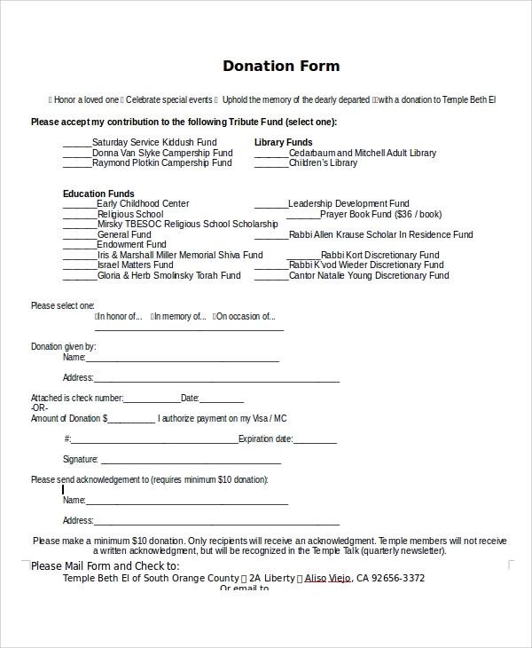 Sample Donation Form   Documents In Pdf Word