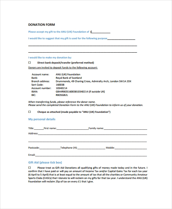Sample Donation Form 6 Documents in PDF Word – Generic Donation Form