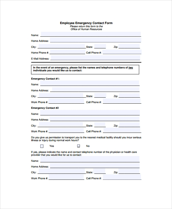 8 emergency contact form samples examples templates sample